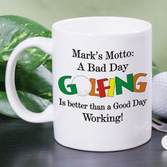 Personalized Coffee Mug. Holds 11 oz. Color is natural (nearly white) ceramic. DW safe
