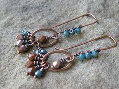 Teal and Rust Czech Glass Copper Earrings by valleybeadglassart, $18.00