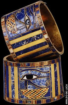 Wristband, Tanis-Protective eyes of Horus adorn bracelets found on Pharaoh Sheshonq II's mummy, but engraved names indicate they were made for Sheshonq I, who is mentioned in the Bible.