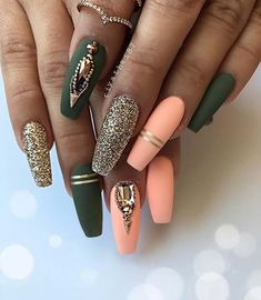 23 beautiful nail art designs for coffin nails - nail design & nai .- 23 beautiful nail art designs for coffin nails - Nail Art Designs, Acrylic Nail Designs, Nails Design, Green Nail Designs, Gel Designs, Salon Design, Beautiful Nail Art, Gorgeous Nails, Diy Nails