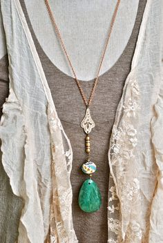 Green jade gemstone bohemian long beaded by tiedupmemories on Etsy