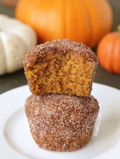 Coated entirely in cinnamon sugar, these pumpkin muffins bring the sweet and the spice. They're naturally sweetened with maple syrup and whole wheat.