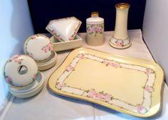 Vintage Porcelain Hand Painted 9pc Bavarian Dresser Set made in Austria