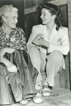 Katharine Hepburn with the co-founder of the Theatre Guild, Theresa Helburn (1941)
