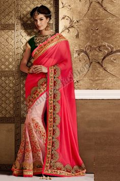PINK PLUS CREAM SOFT NET SAREE,  Pink+Cream Soft Net Saree with  blouse available in Selangor. Zari, resham embroidery, stone Work with patch butta and patch patta Work.    http://www.andaazfashion.com.my/womens/sarees/partywear