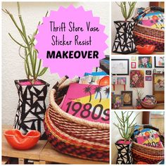How to Do a Coil-Wrapped Sticker Resist Vase Makeover by Jennifer Perkins