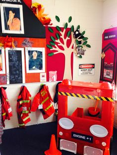My Fire Station home corner complete with cats up a tree, people in burning buildings and of course the fire truck