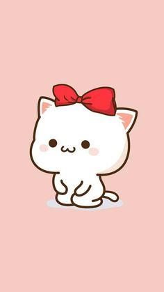"""Rather that bow be black""‡※§ cat wallpaper, couple wallpaper, Cute Animal Drawings, Kawaii Drawings, Cute Drawings, Kawaii Illustration, Chibi Cat, Cute Chibi, Cat Wallpaper, Kawaii Wallpaper, Couple Wallpaper"
