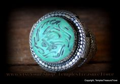 Vintage Afghani Islamic .800 Silver and Beautiful Blue Green Persian Turquoise Intaglio Signet  Talisman Unisex Hand Crafted Ring Circa 1940 by TemplesTreasureTrove on Etsy