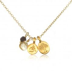 Gold Multi-Charm Necklace - Tree of Life and Om Charm   Satya Jewelry