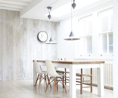 Wall paneling as an element in interior design- Wandverkleidung als Element in der Innenarchitektur Glazed wooden wall panels white – 35 ideas for the country house - Dining Room Design, White Kitchen Renovation, White Paneling, Home Decor, House Interior, White Washed Furniture, Contemporary Dining Room, Scandinavian Dining Room, Interior Design