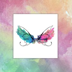 Watercolor wings Temporary tattoo by TTTattoodotcom on Etsy