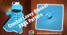 Crochet this Cookie Monster Inspired lovey blanket!