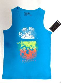 4664d8faea6e52 HURLEY Boys 4-20 Surf Beach LOUNGIONG Island Skull Graphic Tank top 4 M L XL  NEW  Hurley  Everyday