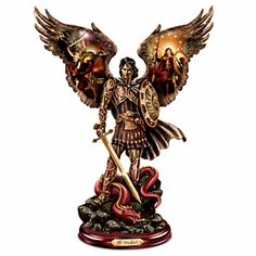 """""""Michael: Triumphant Warrior"""" Cold-Cast Bronze Sculpture Michael: Triumphant Warrior Sculpture Limited-edition FIRST EVER! Handcrafted cold-cast bronze sculpture of the Archangel Michael with artwork by Howard David Johnson, real metal sword. Measures approximately 10"""" H  Price:$69.99 US s&s$10.99 US  Add To Cart Available in 3 installments  of $23.33"""