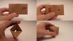 Business card for shipping company that folds in to a box.