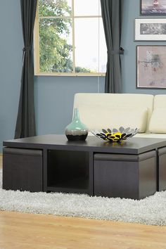 Prescott Dark Brown Modern Table & Stool Set with Hidden Storage on HauteLook
