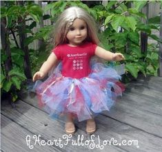 A kid-friendly tutorial to make a patriotic American Girl Tutu to fit your 18 inch dolls.