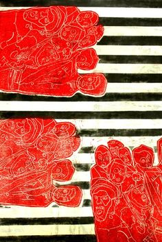 Black, White, & Red  This unique linoprint by artist Juan Pieri features a repeating black and white bar background.  http://www.finelifeart.com/black-white-red-2/