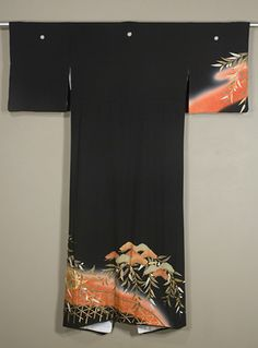 Back of Japanese Tomesode  1950s.  Chirimen silk crepe formal winter kimono with yuzen dyeing, gold couching and gold surihaku.  Signed with the artist's chop