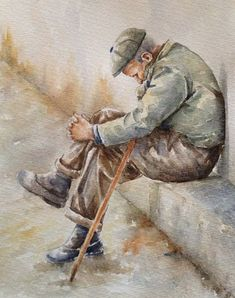 Original watercolor figurative painting of an old man title: 'In thought' , art for man,original art , old people in art,watercolor art Painting People, Figure Painting, Figure Drawing, Watercolor Portraits, Watercolour Painting, Painting & Drawing, Watercolours, Photos Encadrées, Figurative Kunst