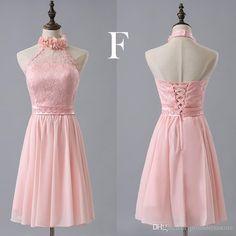 Pink Bridesmaid Chiffon Lace Dress