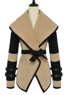 Block Turndown Collar Long Sleeve Coat