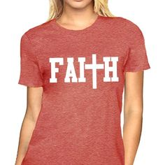 Faith Shirt Jesus Christian t-shirt at Amazon Women's Clothing store: ($14) ❤ liked on Polyvore featuring tops, t-shirts, red tee, red top, red t shirt, t shirt and red shirt
