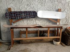 Useful Products Made From Repurposed Skateboards   Wooden skateboard bench