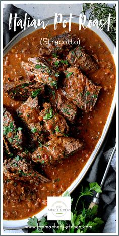 Italian Pot Roast (Stracotto) and Oven-Baked Gorgonzola Polenta is the ultimate Italian comfort food combination your family and friends will love! Italian Pot Roast, Italian Dishes, Italian Recipes, Italian Polenta, Italian Wine, Roast Beef Recipes, Meat Recipes, Cooker Recipes, Beef Pot Roast