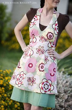 heather bailey pink floral full apron