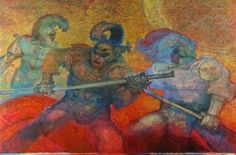 Raffaele De Rosa Guerrieri Olio su Tela cm 85x129
