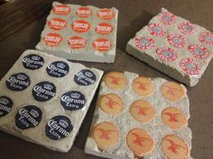 DIY Concrete bottle cap coasters.  So easy and makes a great man gift :)
