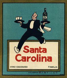 Vinos Santa Carolina Vintage Advertisements, Vintage Ads, Vintage Posters, Chilean Wine, Cool Posters, Vintage Movies, Classic Movies, Illustration, Baseball Cards
