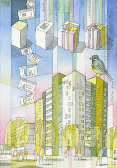 nice overlayed diagram/perspective Studentenwohnheim in Aarhus, CEBRA Architecture Graphics, Architecture Drawings, Building Architecture, Rendering Techniques, Painting Techniques, Rendering Art, Aarhus, Conceptual Drawing, Watercolor Architecture