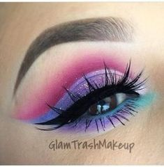 Blue, Purple and pink dramatic cut crease #eye #eyes #makeup #eyeshadow #winged #dramatic #bright by Dèéby Silva #pinkcutcrease