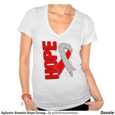 Aplastic Anemia Hope Grunge Ribbon Tee Shirt by www.giftsforawareness.com #aplasticanemia #diseaseawareness #hope