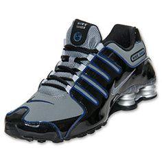 Men's Nike Shox NZ EU Running Shoes | FinishLine.com | Black/Metallic Silver/Blue Size 10