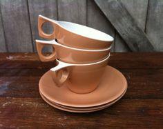 Retro Light Brown Ornamin Ware Melmac Tea cup and Saucer