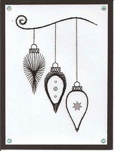 Free Card Pricking Patterns | ... was made with the Stitching Cards Christmas baubles pattern