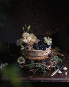 Genoise cake with a blackberry and soju reduction syrup in-between the layers and a mascarpone icing dusted with walnuts. Elegant Desserts, Just Desserts, Dark Food Photography, Cake Photography, Photography Ideas, Genoise Cake, Fancy Dishes, Walnut Recipes, Healthy Cake