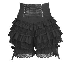7f9b873e596 Black Gothic Steampunk Lolita Ruffle Lace Pumpkin Bloomers Cotton Shorts