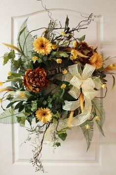 Spring Door Wreath Lg. Colorful  Bless Our Home -- FREE SHIPPING