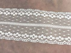 White Net Flower Lace Trim  2 1/8 inches  1 yard