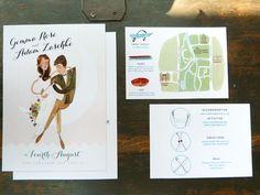 Over the Moon, Custom Wedding Invitations