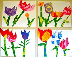"kindergarteners cut and glued their own garden collage patterned after Lois Ehlert's book ""Planting a Rainbow""."