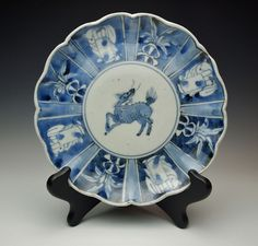 ANTIQUE 300+ YR JAPANESE BLUE & WHITE PORCELAIN DISH 1600s-1700s Edo Shoki Imari #AritaImari