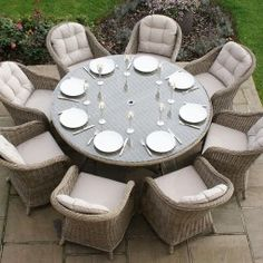 Maze Rattan - Winchester Rounded Armchair 8 Seat Rattan Dining Set - 1.6m Round Table