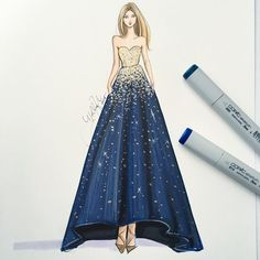 """""""@reem_acra sketched with @copicmarker and a bit of gold leaf metallics ✨. See her shine best on snapchatHNILLUSTRATION ✨✨. #fashionsketch…"""""""