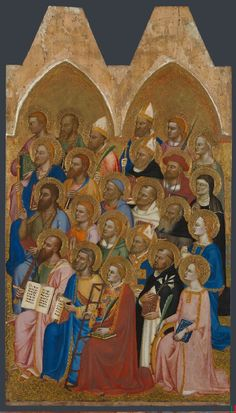 """The Coronation of the Virgin with Adoring Saints,"" Right Main Tier Panel, attributed to Jacopo di Cione and workshop, 1370-1  Look at the right hand of the middle man in the first row"